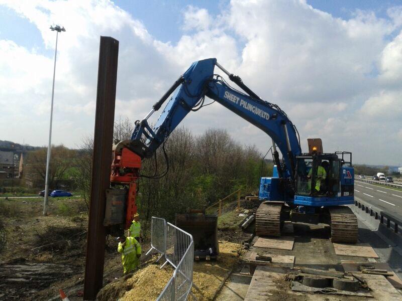 Vibro Piling steel sheet piles on the M62 Motorway