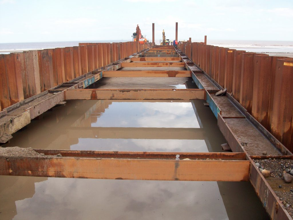 Temporary Sheet Pile Pipe Pull Trench Cofferdam Easington