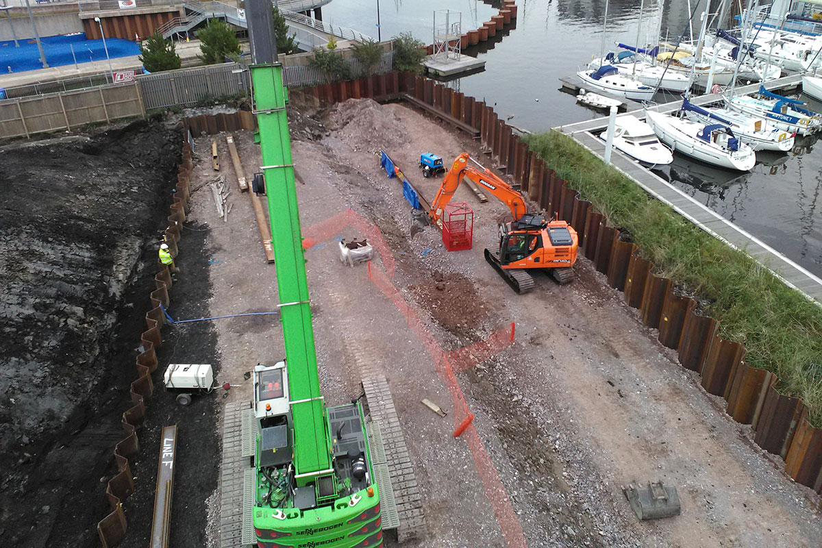 Sheet Piling in Cardiff Bay, Wales
