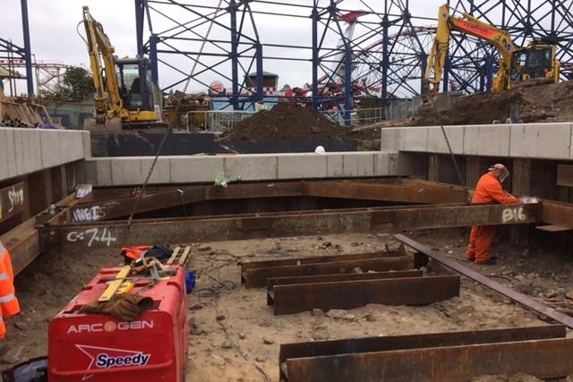 Blackpool Pleasure Beach Sheet Pile Retaining Wall