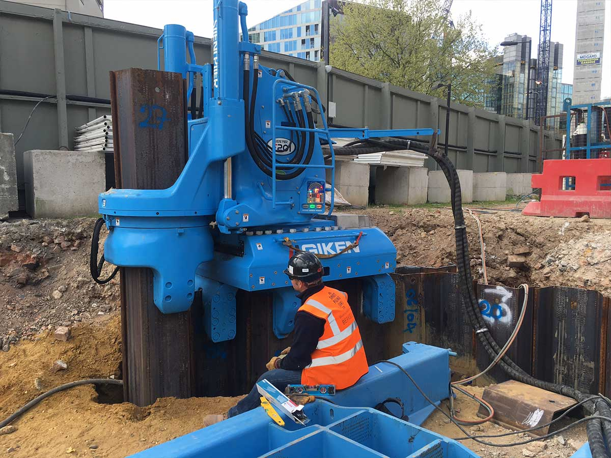Sheet Pile Installation using Giken Pile Press