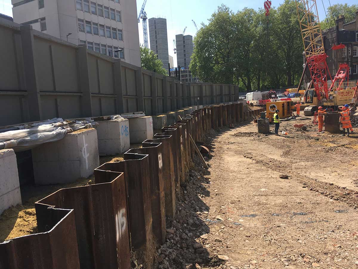 Temporary Arcelor Mittal Sheet Piling at West End Gate for Berkley Group