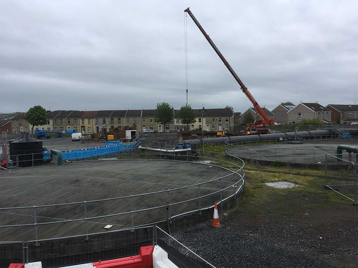 Steel Sheet Piles Craned into Position