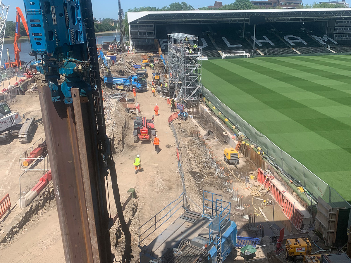 Steel Sheet Pile Installation at Fulham FC